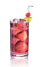 The Cranberry Delight is a tropical red colored drink made from Admiral Nelson's coconut rum and cranberry juice, and served over ice in a highball glass.