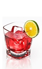 The Cranberry Disaronno is a red cocktail made from Disaronno, cranberry juice and lime, and served over ice in a rocks glass.
