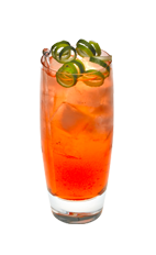 The Cranberry Grand is an orange drink made from Smirnoff cranberry vodka, grapefruit juice, lime juice, grenadine and club soda, and served over ice in a highball glass.