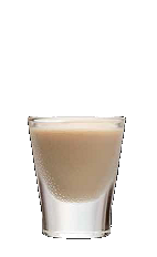 The Crazy Cow shot recipe is a cream colored shot made from Three Olives chocolate vodka and Bailey's Irish cream, and served in a shot glass.
