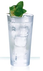 The Crazy Mint drink is a clear colored tall drink made from Cointreau, lime juice and club soda, and served over ice in a highball glass.