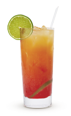 The Cruzan Bay Breeze drink recipe is an orange colored cocktail made from Cruzan light rum, pineapple juice and cranberry juice, and served over ice in a highball glass.