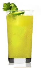 The Cucumber, Cilantro and Silver is a yellow cocktail made from Patron tequila, cilantro, jalapeno, lim ejuice, agave nectar and cucumber, and served over ice in a highball glass.