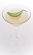 The Cucumber Jalapeno Caipirinha is a spicy version of the classic Brazilian caipirinha drink. Made from Leblon cachaca, jalapeno pepper, lime, cucumber and agave nectar, and served in a chilled cocktail glass.