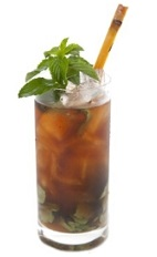 The Culebra cocktail is a brown colored drink recipe made from Luxardo amaretto, lime juice, mint, Coca-Cola and bitters, and served over ice in a highball glass garnished with a stalk of sugar cane.