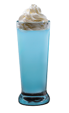 The Cupcake Shot is a wonderful blue shot made from Hpnotiq liqueur and whipped cream, and served in a chilled shot glass.