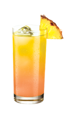 The Cypha is an orange drink made from raspberry vodka, pineapple juice and grenadine, and served over ice in a highball glass.