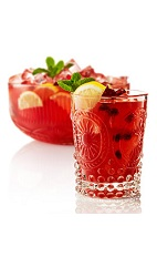 The Damascan Punch is a red colored punch made from Beefeater gin, pomegranate juice, lemon juice, simple syrup, bitter lemon and bitters, and served over ice in a rocks glass. Recipe serves 2.