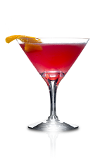 The Danzka Cosmopolitan cocktail is a red colored drink recipe made from Danzka Citrus vodka, Cointreau orange liqueur, cranberry juice and lime juice, and served in a chilled cocktail glass.