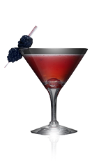 The Dark Berries cocktail recipe is made from Danzka Currant vodka, blackberries, lime juice and simple syrup, and served in a chilled cocktail glass.