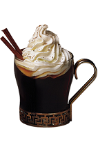 The Dark Star drink recipe is a black colored cocktail named for the 1953 Kentucky Derby winner. Made from Kamora coffee liqueur, butterscotch schnapps, Jim Beam black bourbon, coffee, whipped cream and cinnamon, and served in a warm coffee glass.
