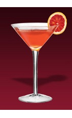 The Deshler cocktail recipe is made from Dubonnet Rouge, rye whiskey, Cointreau, bitters and blood orange, and served in a chilled cocktail glass.