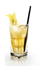 The Disaronno and Sprite is an orange drink made from Disaronno, Sprite and lemon, and served over ice in a highball glass.
