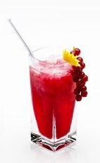 The Disaronno Breeze is a fruity red drink made from Disaronno, vodka, cranberry juice and red currant berries, and served over ice in a highball glass.
