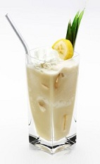 The Disaronno Cocoban is the perfect summer cocktail. A cream colored drink made from Disaronno, colada mix, vanilla ice cream, banana and whipped cream, and served in a highball glass.