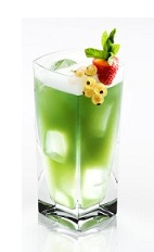The Disaronno Jazz is a snappy green drink made from Disaronno, vodka, blue curacao and sweet & sour mix, and served over ice in a highball glass.