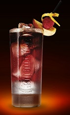 The Dogmen's Revenge drink recipe is made from Jagermeister, peach schnapps, raspberry puree, lemon juice and club soda, and served over ice in a highball glass.
