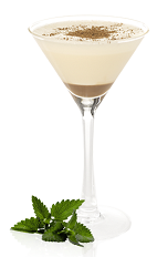 The Double Choc is a sweet dessert cocktail perfect for birthday cake or with your favorite decadent dessert. A brown and cream colored cocktail made from Mozart White chocolate liqueur, gin, maraschino liqueur, light cream and Mozart Gold chocolate liqueur, and served in a chilled cocktail glass.