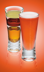 The Down Hill shot recipe is made from Xante cognac, raspberry liqueur and lemon juice, and served in a shot glass.