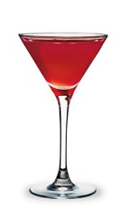 The Dreamy-tini is a smooth red cocktail made from pomegranate schnapps, vanilla vodka and lemonade, and served in a chilled cocktail glass.