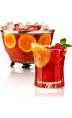The Earls New Punch is made from Beefeater gin, dry vermouth, blood orange juice, Earl Grey tea, lemon juice and raspberry liqueur, and served over ice in a rocks glass. Recipe makes 2 drinks.