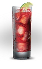 The El Diablo drink is a simple red drink with complex flavors, made from Jose Cuervo silver tequila, raspberry liqueur, pomegranate juice, simple syrup, lime juice, blackberries and ginger beer, and served over ice in a highball glass.