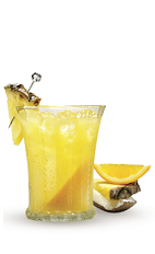 The Endless Summer Punch is an orange colored drink recipe combining tropical and summer classic flavors. Made from Cruzan Pineapple rum, spiced rum, coconut rum, orange juice and lemonade, and served over ice in a highball glass.