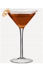 The Espresso Cosmo cocktail recipe is made from Burnett's espresso vodka, coconut rum and Kahlua coffee liqueur, and served in a chilled cocktail glass.