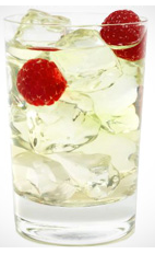 The Eternal Bliss is the ultimate Valentine's Day drink recipe made from Flor de Cana rum, lemon juice, white cranberry juice and raspberries, and served over ice in a rocks glass.