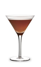 The Express is a brown cocktail made from coffee liqueur and anisette, and served in a chilled cocktail glass.