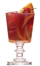 The FWI Revolver cocktail recipe is made from Clement VSOP rum, St. Elizabeth allspice dram, sugar syrup, lime juice and bitters, and served over ice in a rocks glass.