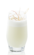 This drink could be served either as an exciting aperitif or at a Cinco de Mayo party. A spicy cream colored drink made from silver tequila, Mozart White chocolate liqueur, lime juice, vanilla syrup, horseradish and egg white, and served over ice in a rocks glass.