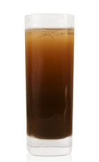 The Fall at Dusk is a brown drink made from Patron XO Cafe liqueur, elderflower liqueur, pineapple syrup, basil syrup and club soda, and served over ice in a highball glass.