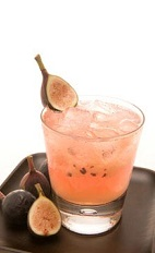 The Fig Newton Caipirinha is a pink colored cocktail recipe made from Leblon cachaca, fig, lime juice, simple syrup and ginger ale, and served over ice in a rocks glass.