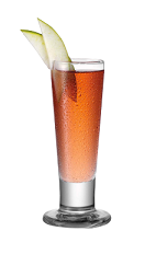 The Fluffy Apple is a red shot made from Smirnoff marshmallow vodka, Smirnoff green apple vodka, cranberry juice and bitters, and served in a chilled shot glass.