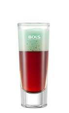 The Foamy After Eight is a brown and green shot made from vodka, dark creme de cacao and Bols Peppermint Green Foam liqueur, and served in a chilled shot glass.