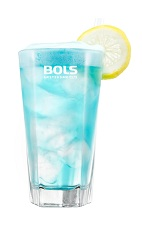 The Foamy Blue Lagoon is a relaxing blue drink made from vodka, blue curacao, 7-Up or Sprite and Bols Blue Foam liqueur, and served over ice in a highball glass.