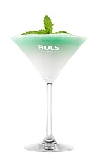 The Foamy Grasshopper is a modern variation of the classic Grasshopper cocktail. A green drink made from Bols Natural Yoghurt liqueur, white creme de cacao, peppermint schnapps and Bols Peppermint Green Foam liqueur, and served in a chilled cocktail glass.