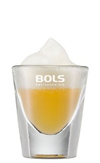 The Foamy Popsicle is a miniature screwdriver taken to the next level. An orange shot made from vodka, orange juice and topped with Bols Banana Foam liqueur, and served in a chilled shot glass.