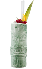 The Fogcutter is an exciting tropical drink made from rum, genever, gin, lemon juice, orange juice, orgeat syrup and cream sherry, and served with ice and fresh fruit in a highball glass.