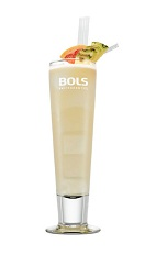The For the Mamas and the Papas is a refreshing beach drink made from rum, coconut rum, triple sec, grapefruit juice and pineapple juice, and served over ice in a collins glass.