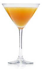 The Forbidden Apple is an orange cocktail made from Patron tequila, apple juice, ginger liqueur and orange flower water, and served in a chilled cocktail glass.