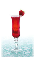 The Fraise Champagne is a strawberry red colored drink made form strawberry liqueur and champagne, and served in a chilled champagne glass.
