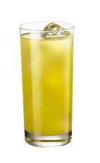 The French Collins is a yellow drink made from Smirnoff vanilla vodka, raspberry liqueur, pineapple juice and sour mix, and served over ice in a collins glass.