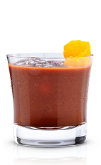 The French Kiss is a brown dessert drink made from New Amsterdam gin, elderflower liqueur and chocolate syrup, and served over ice in a rocks glass.