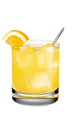 The French Peach is a yellow drink made form Smirnoff peach vodka, cognac, lemonade and passionfruit syrup, and served over ice in a rocks glass.