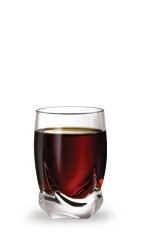 The Frosted Patty Shot is a brown shot made from peppermint schnapps and dark creme de cacao, and served in a chilled shot glass.