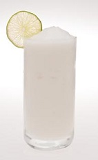 The Frozen Caipirinha is made from Leblon cachaca, lime juice and simple syrup, and served blended in a highball glass.