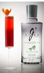 The G'Vine Ruby cocktail recipe is a red colored drink made from G'Vine Nouaison, sherry, crème de cassis, simple syrup, lemon juice, pomegranate juice and chilled champagne, and served in a chilled champagne flute.