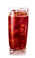 The Gator Growl is a tropical red drink made from melon schnapps, raspberry schnapps, coconut schnapps, Jagermeister, sour mix and club soda, and served over ice in a highball glass.